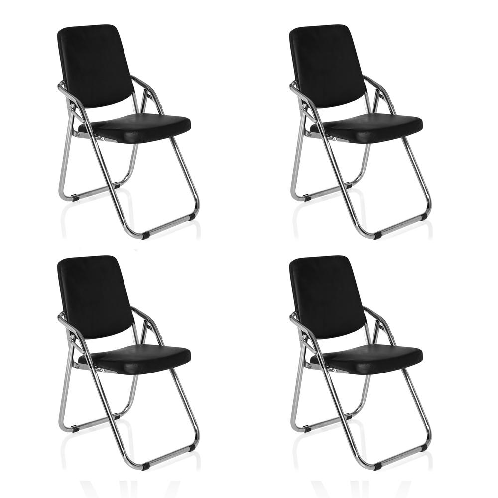 ESTO 4er Pack - Besucherstuhl Konferenzstuhl Schwarz