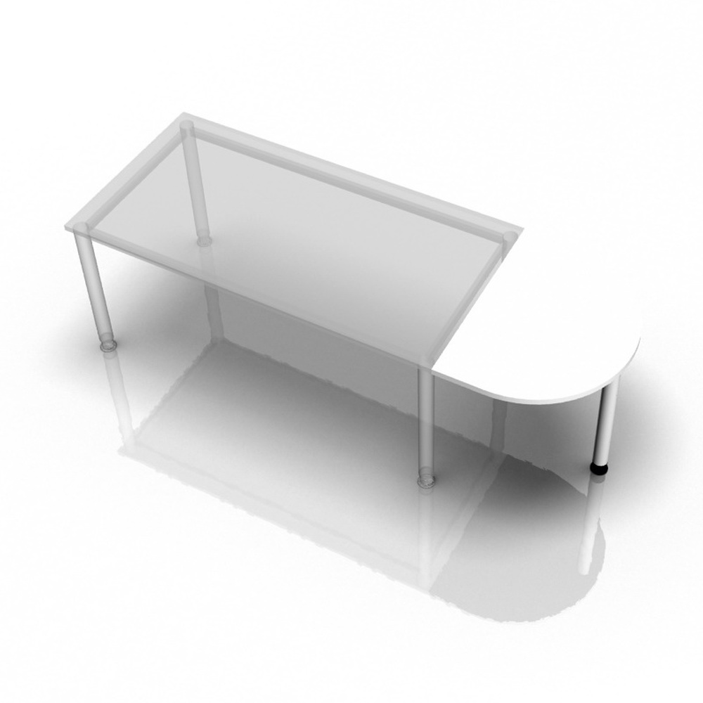 XBA60 W - Ansatztisch 60x80 Weiß